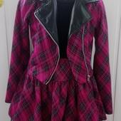 Бомбезный стильный костюм с косухой и юбкой шорты. 122-128