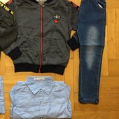 Крутая 3ка Gràce 98р трикотаж бомбер +джинсы на резинке+ рубашка