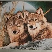 """Картина тканная """"волчья пара"""""""