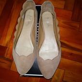 Туфли балетки замш беж mia на широкую ногу 27 ст