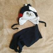 Зимний комплект на 2-4 года. Шапка на завязках и шарф.