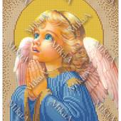 """Схема для частичной зашивки бисером""""Молящийся ангел"""" А4 (полная зашивка фона)"""