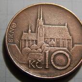Монета. Чехия. 10 крон 1993 года. Архитектура. Собор в Брно.