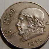 Монета. Мексика. 1 песо 1971 года. Национальний герой Мексики, священник Хосе.