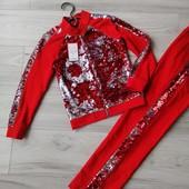 Эффектные костюмчики «Пайеточка» на рост 122-158см красного цвета