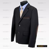 Пиджак на рост 122-128см черный с налокотниками, шерсть - 70%