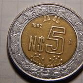 Монета. Биметалл! Мексика. 5 новых песо! 1992 года. (Крупный номинал!)