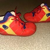 Кожаные яркие Деми ботинки, стелька 15.5 см