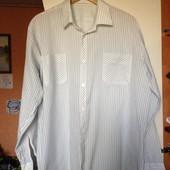 Белая рубашка в зеленую и синюю полоску, в новом состоянии , р.ххл (ворот 43-44)