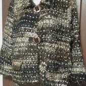 Фирменный пиджак-полупальто с серебряной нитью р. 18-22 оверсайз.