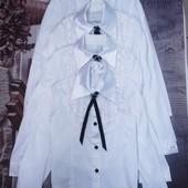 Нарядные хлопковые блузки с атласными рюшами и галстуком. 134, 146