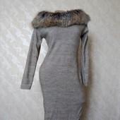 Бомбезное!!!!! Платье теплое с меховым воротником в идеале