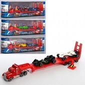 Супер подарочек! Трейлер металлический длинна 28 см, + 2 машинки 8см, метал