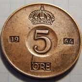 Монета. Швеция. 5 эре 1964 года!