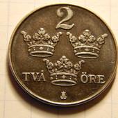 Монета. Швеция. 2 эре 1947 года!