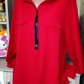 Собираем лоты!! Блузка - рубашка с кожанными вставками, размер s-m