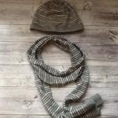 Шапка+шарф BеNetton на объём головы 46 см
