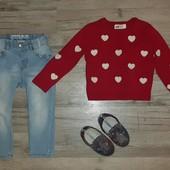 Джинсы , свитер и слипоны одним лотом на рост 92см