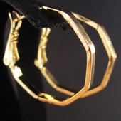 Новинка!!!Очаровательные фигурные серьги-кольца ø 2,4 см позолота 585 пробы