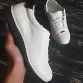Кожаные белые кроссовки, итальянская кожа флотар! Размер 36 - 23,5 см