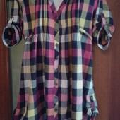Фирменная рубашка в отличном состоянии р. 14-16 лен+хлопок