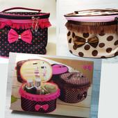 Органайзер, кейс косметичка женская , дорожная, мягкая, складная с зеркалом Bow storage bag
