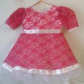 Нарядное платье для девочки на 1-3 года. Есть замеры.