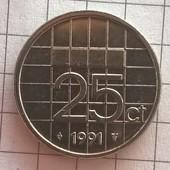 Монета Нидерландов 25 центов 1991