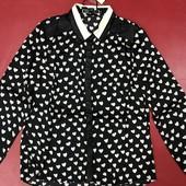 Блуза атласная в сердечки