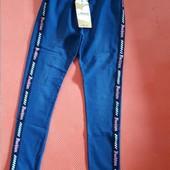 Модные Крутецкие леггинсы треггинсы крафт лента джинсовая расцветка.из Европы 152рост длина 88/68