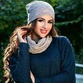 Новая трикотажная шапка с ангоры на осень, зиму