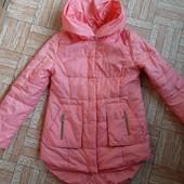 Удлиненная весенняя курточка! Цвет коралл! 128 р
