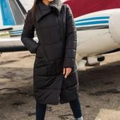 Стильная женская куртка-пальто сезона зима 2019-2020, Размеры 48, 50, 52, 54. Цвет чёрный!