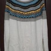Фирменный шерстяной свитер красивой расцветки р. 18-24 оверсайз