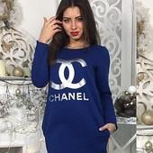 Стильное платье , Chanel , трехнитка на флисе , р. 42 - 46