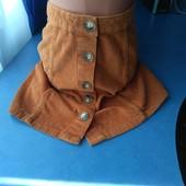 Вельветовая мини юбка на пуговицах, р.44(50-52)