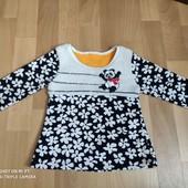 Тёплое велюровое платье-туника р.86-92