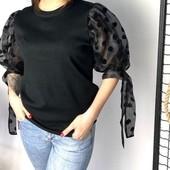 Блузка нарядная трикотаж с шифоновыми рукавами в горох. 44/46/48.