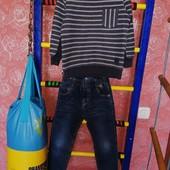 Комплект джинсы тёплые и джемпер. 116-122.