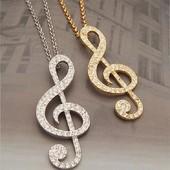 Подвеска нота.скрипичный ключ.цепочка.кулон в стразах.камни.золото.бижутерия.