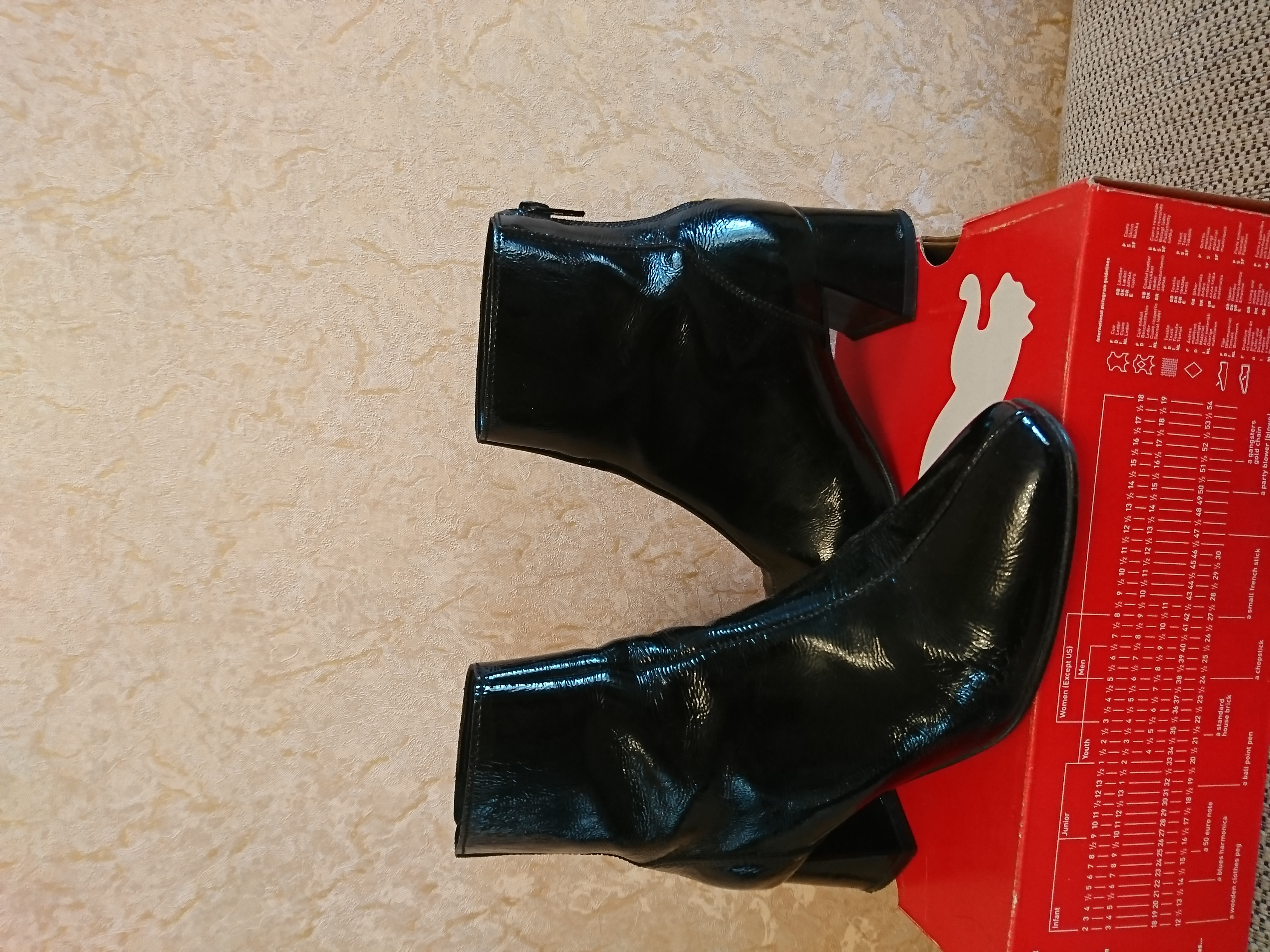 Ботинки кожаные лаковые 36 ра - Фото №1