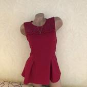 Роскошная блуза с вышивкой, цвет марсала, сток эксклюзив! В составе 18% вискоза, вышивка 100% коттон