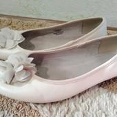 Легкие балетки на широкую стопу (верх эко кожа, внутри полностью кожа), размер 39 (стелька 25,5 см)
