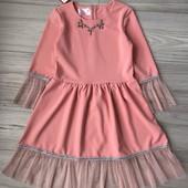 Стильное нарядное платье розовый/персик на рост 116-152см