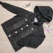 Распродажа!!! Крутая джинсовая курточка с тканевыми рукавами! 92 рост, маломерит!