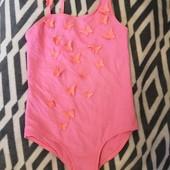 Милый розовый купальник с оранжевым бабочками Tu 7 лет