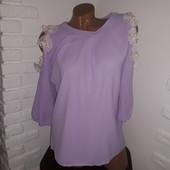 Шикарная блуза с цветами на рукавах! Смотрите замеры!
