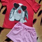 Одним лотом! Фирменная футболка и шорты, девочке 5-7 лет, замеры