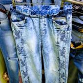 Новые нарядные турецкие фабричные лёгкие джинсы р. 32, поб 57 см, пот 38 см, высокая талия