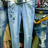Новые фабричные стрейчевые зауженные турецкие джинсы, р. 27, поб 43 см